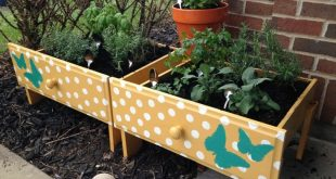DIY Super-Easy Raised Herb Beds {from old drawers!}
