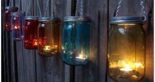 DIY hängende Einmachglas Lichter #Gartenzaun #Decor Anweisungen-20 Zaun Makeover