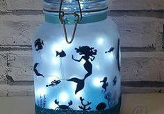 Mermaid Night light,Mood Lighting,Little Mermaid,Jar With Fairy Lights,Fairy Lights, Mermaid Jar, Bedroom Light, Wedding Decor, Dolphin Gift
