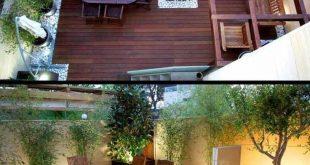 Moderne Gartendesign – Bretterboden, Zierkiesel, Bambuspflanzen