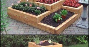 Tolles Design für einen kleinen Außenbereich zum Anbau von Kräutern, Gemüse und Blumen. Ra