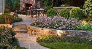 schönen Hinterhof Landschaft Garten Wege Garten Beleuchtung Stein Kamin Esszimmer